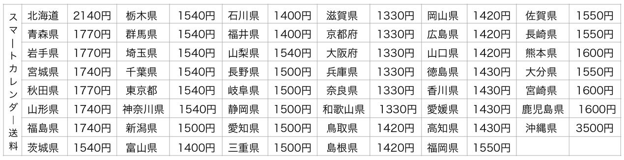 スマートカレンダー送料